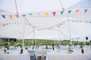 הפקת חתונה בטבע ליד שדות בעיצוב לבן